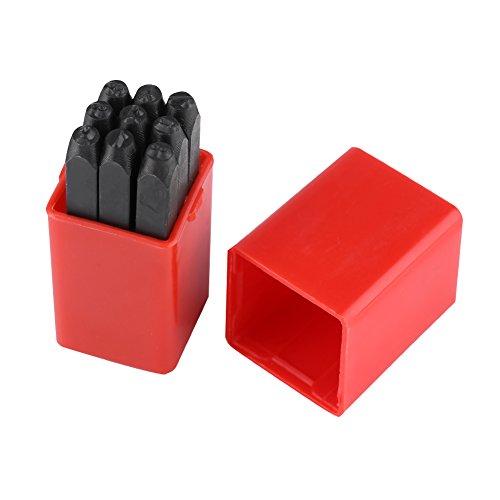 HEEPDD Kohlenstoff Stahl Stanze Kits, 3mm Alphabet/Nummer Punch mit Etui Industriequalität Metall Stanzen Kunst Werkzeuge Kit (A-Z und & / 0-9) zum Bedrucken von Metall Holz Kunststoff Leder(Zahlen)
