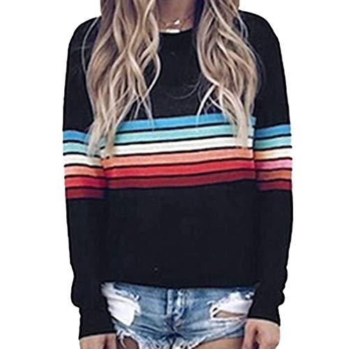 Frauen Einfach Lässig Sweatshirt Pullover Herbst Lose Rundhals Langarm Tops Bluse Jumper T-Shirt Schwarz M