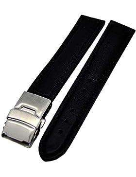 Uhrenarmband Glattleder Faltschließe 18mm schwarz Ton in Ton 4004