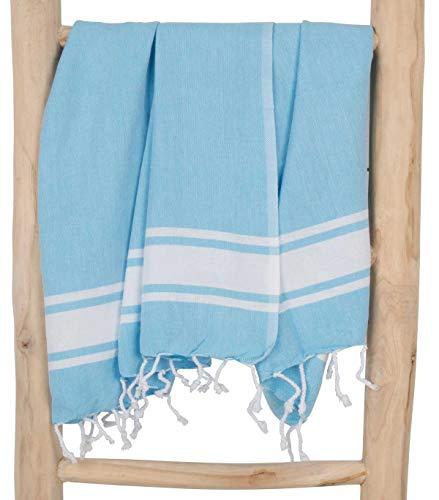 Zusenzomer fouta telo mare xxl sol 100x200 cm turchese blu - ascuigamano hammam 100% cotone morbido - teli disegno unico