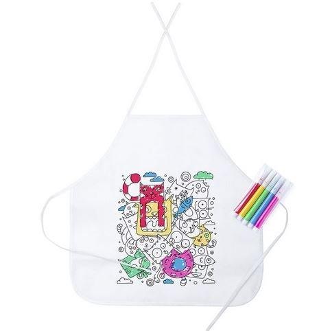 Lote 15 Delantales Infantiles Colorear Pintar, 5 rotuladores