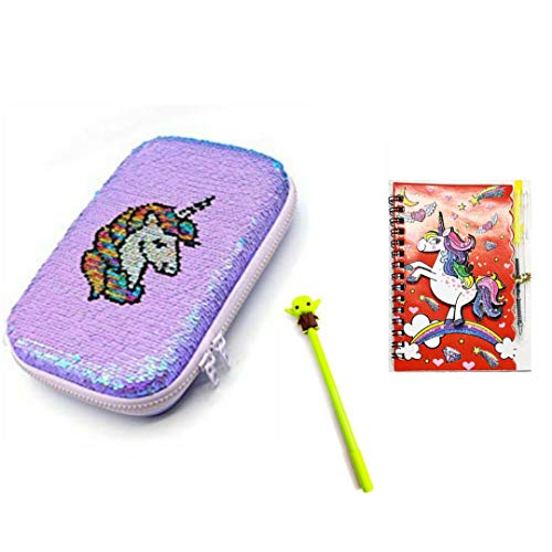 Prezzie Villa Designer Unicorn Mermaid Scale & Color Changing Pencil Box Cute Large Capacity Hardtop EVA Pencil Case Pouch Organizer for Girls Kids + 1 Alien Pen and 1 Glittery Pocket Diary *Free*