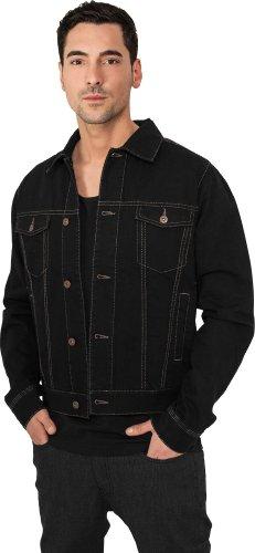 Urban Classics TB515 Denim Vest Giubbino Jeans Manica Lunga Regular Fit Uomo Black Raw
