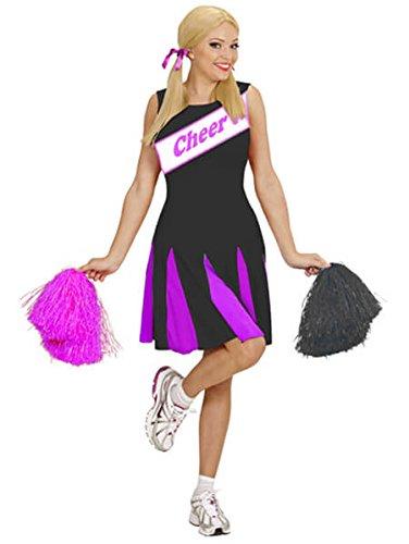 Ladies Black/Pink Sporty Cheerleader Fancy Dress (Kinder Für College Kostüme Football)