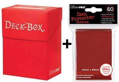 Ultra Pro Deck Box + 60 Small Size Protector Sleeves - Rot - Red - Yu-Gi-Oh! - Japanese Mini Deck Box Yugioh