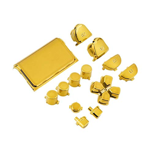 BFHCVDF Chrome Button Replacement Mod Game Kit for Playstation 4 PS4  Controller Gold