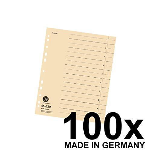 Falken 100er Pack Trennblätter. Das Original - Made in Germany. Aus Recycling-Karton für DIN A4 hellchamois Trennlaschen Trennblätter Ordner Register Kalender Blauer Engel