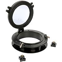 """Barco yate de apertura ojo de buey con ABS redonda y transparente cristal templado, 5–3/4""""Diámetro ventana abierta, negro"""