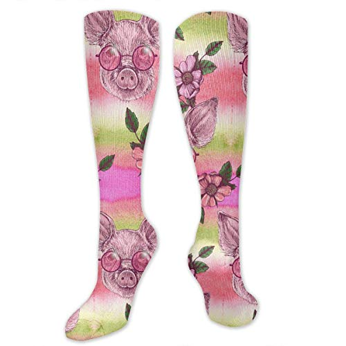 CVDGSAD Pig with Flowers and Sunglasses Pattern Men & Women Knee High Sport Compression Long Sock for Baseball Walking