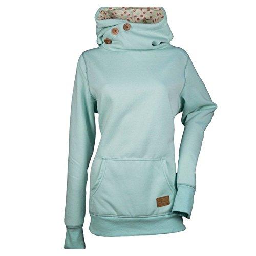 Übergröße Hoodies Damen Sweatshirts Langarmshirts Hoher Hals Blusen Solide Shirts mit Tasche Rot Grau Blau M-5XL Juleya Sweatshirt Hals