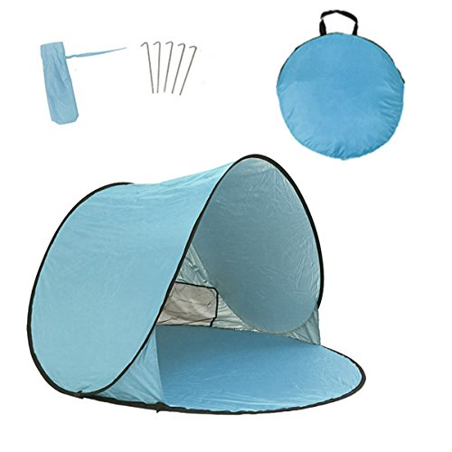 portable pop up sun tent automatic instant cabana family uv protection beach shelter for outdoor camping beach fishing garden (2-3person)