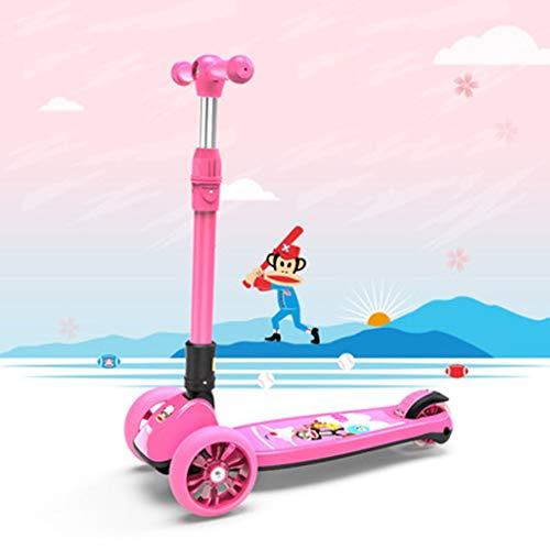 LIANG Scooter De Un Solo Pedal para Niños De Cuatro Ruedas Patines 1-3-6 Años De Edad Hombres Y Mujeres Niños Bebé Yo Coche (Color : Rosado)