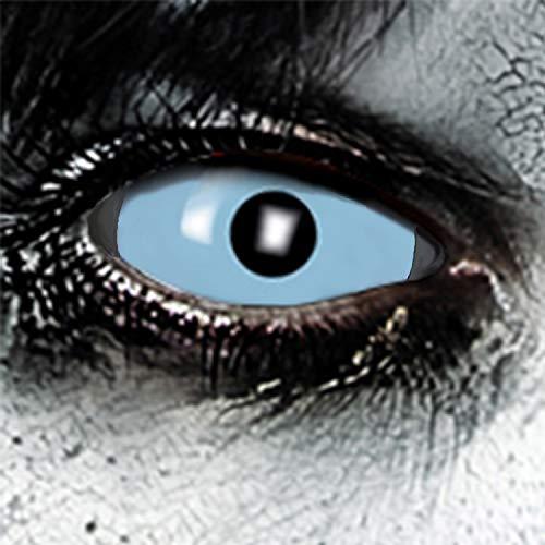 KOH-Funlinsen Froozen Sclera-Markenqualität- 1 PAAR-D-22mm-Iceblau Linsen,Cosplay, Larp, Zombie, Kontaktlinsen, Crazy Funlinsen, Halloween, Fastnacht,Vampir