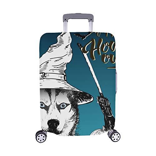 Grußkarte Halloween Siberian Husky Dog Spandex Trolley Reisegepäck Beschützer Kofferabdeckung 28.5 X 20.5 Zoll