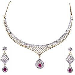 Cardinal American Diamond Traditional Stylish Fashion Jewellerry Party Wear Necklace Pendant Set With Earring For Women/Girls