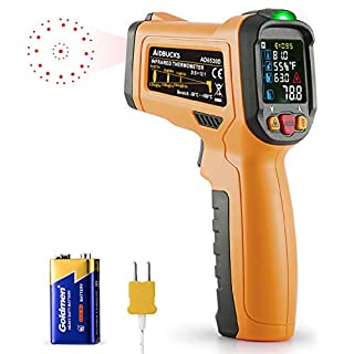 Infrared Thermometer AIDBUCKS AD6530D Digital Laser Non Contact IR Temperature Gun Color Display -58°F to 1472°F with Temperature Alarm Function for Cooking Food Kitchen Oven Industry etc.