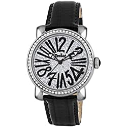 Pocket Rond Pave Medio Women's Quartz Watch with Silver Dial Analogue Display and Black Leather Strap PK2026