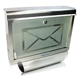 super 051 bo te aux lettres moderne avec porte vitr e et rouleau journaux acier bross et. Black Bedroom Furniture Sets. Home Design Ideas