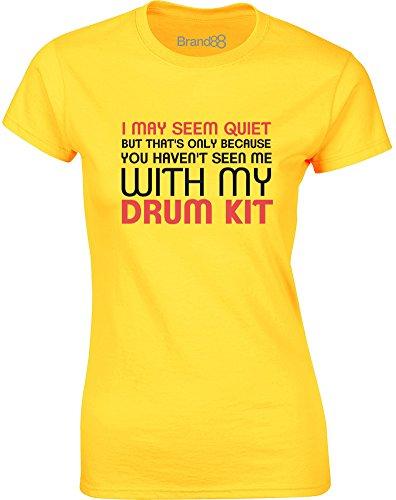 Brand88 - See Me With My Drum Kit, Gedruckt Frauen T-Shirt Gänseblümchen-Gelb/Schwarz