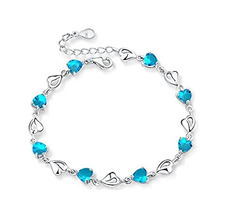 Sterling Silver Simulated Blue Aquamarine CZ Multiple Hearts Bracelet, Adjustable, Great Gift For Women B11134-blue