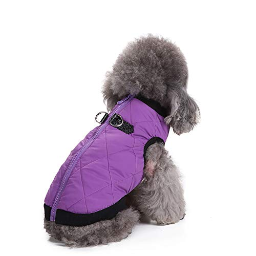 YCGG Haustier Hund Jacke Mantel,Haustier-Hundekatzen-Welpen-Winter-warme Kleidungs-Kostüm-Jacken-Mantel-Kleidung(S,Lila) (Welpe-kleidung Lila)