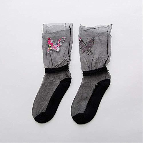 AOCNJDiamant Sternenfrühling Sommer Ultradünne Socken Meias Japanischen Haufen Kurze Socke Butterfly Flut Marke Atmungsaktive SockenD