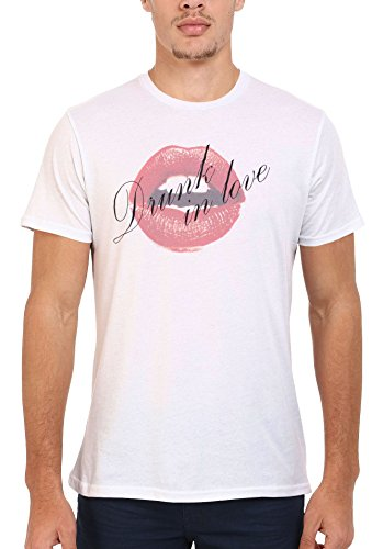 Drunk in Love Sexy Red Lips Cool Men Women Damen Herren Unisex Top T Shirt .Weiß