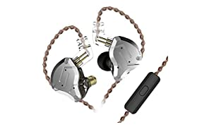 KZ ZS10 Pro Kopfhörer 4BA 1DD Hybrid 4 Balanced Armature und 1 Dynamic Drivers Kopfhörer mit 2-poligem Ersatzkabel(Schwarz mit Mic)