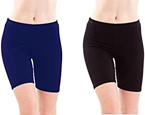 FASHION LINE NAVY AND BLACK WOMEN SHORTS/TIGHTS(PACK OF 2)