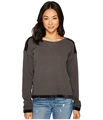 Splendid Women's Velvet Trim Mixed Media Pullover Sweatshirt Lead X-Small (Womens Velvet Trim)