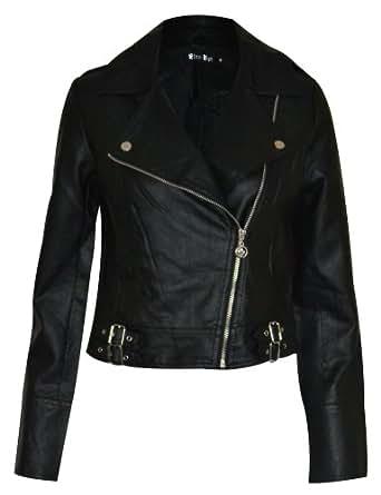 New Womens Khaki Green Military Army Black Leather Look PU Long Sleeve Jacket Coat Ladies Fashion Size 6 8 10 12 14 16 (10, Khaki With Black)