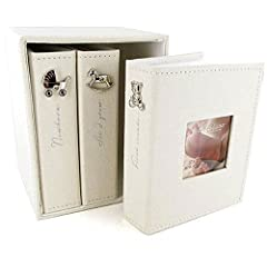 Idea Regalo - The Emporium Bambino Christening Gifts - Set con 3 album per foto, tessuto di lino