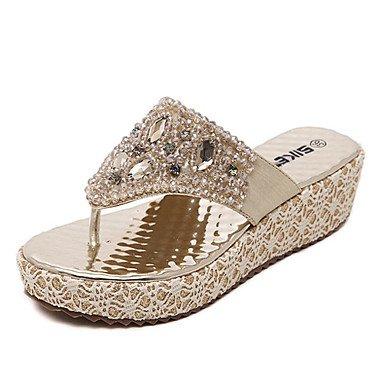 zhENfu Scarpe donna cuneo sintetico tacco sandali Slingback Abito casual / Argento / oro rosa Golden