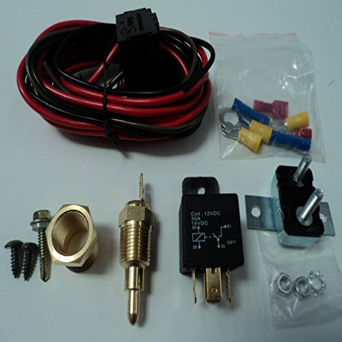 DERNON Electric Fan Wiring Install Kit Complete Thermostat 50 Amp Relay 185° SBC BBC Colorful -