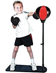 Pelota de Boxeo,WoBoSen Bola de Perforación con Soporte y Guantes Altura Ajustable Gran Ejercicio Actividad Divertida para Niños (Punching Ball)