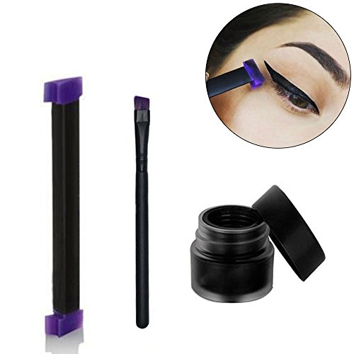 MLMSY Eyeliner Stamp with Eyeliner Liquid & Brush Easy to Makeup Tool for Eye Wing Repeatable Use Smokey Eye Stencil Professional Eye Liner Eye Shadow For Everyone from Beginner to Professionals (1 Set Medium)