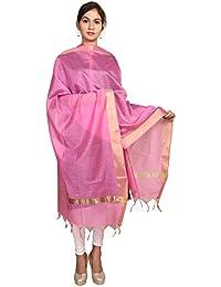 Home Shop Gift Pink Chanderi Silk Dupatta For Women - B0778PFSQ5