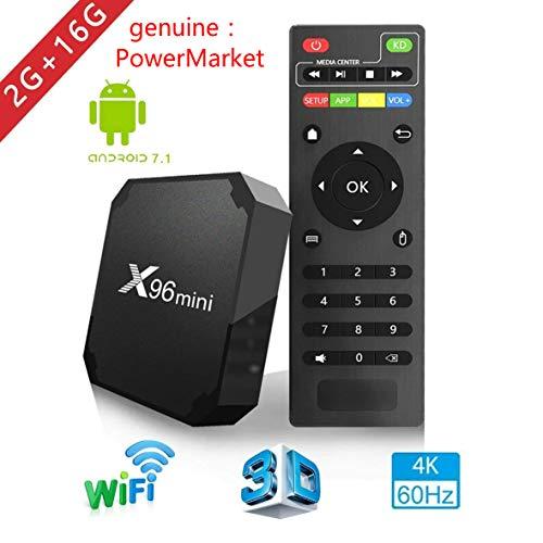 X96mini TV Box Android 7.1.2, 2 + 16 Go, 4K Boîtier Numérique et Intelligent pour la Télévision, Boîte Télé avec Télécommande(CPU Amlogic S905W Quad Core / Arm Cortex A53 / Connexion WiFi / H.265