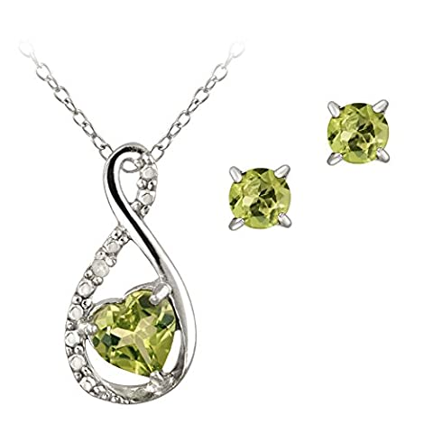Sterling Silver Peridot & Diamond Accent Swirl Heart Necklace and Earrings Set