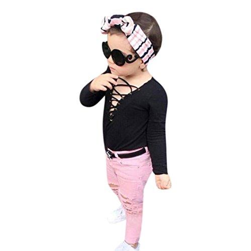 Ursing Kinder Kleinkind Baby Mädchen Langarmshirt V-Ausschnitt Sweatshirt Tops + Löcher Jeans Beiläufig Rosa Lange Hose Outfit Trendy 2pcs Set Anzug Kleidung Übergang babyausstattung (120cm, Schwarz) (Wolle Denim Strickjacke)