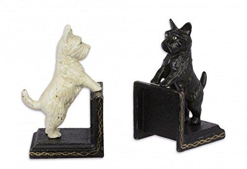 Luxus Pur UG 2-er Set Buchstützen Figur Skulptur Hund Malteser Schwarzweiss Deko Gusseisen (Malteser Hund Figur)