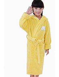 HUIFANG Albornoz Infantil De Algodón De Dibujos Animados De Invierno con Capucha Acolchada Bata De Baño Pijamas (Color : Amarillo,…