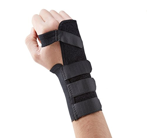 Actesso Black Elasticated Wrist Support Splint for Carpal Tunnel, Sprains or Strains. Medically Approved (Extra Large, left)
