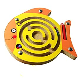 HappyToy animale mini di legno round magnetico bacchetta numero labirinto interattivo labirinto magnete perle labirinto a bordo di gioco il traffico eduactional handcraft giocattoli (pesce)