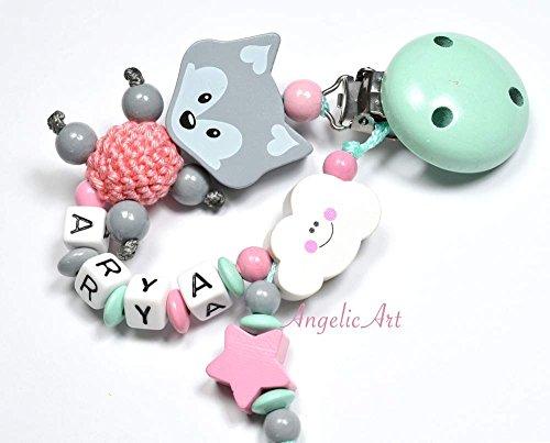 Schnullerkette mit Namen - Junge Mädchen - VIELE MODELLE - Häkelperle 3D Tiere Motivscheiben (017 mint, rosa)
