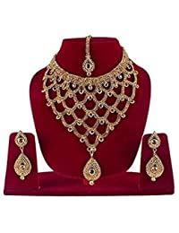 Prime Wedding And Party Wear Use Gold Plated Necklace Set For Women And Girls, 50 Gram, Golden, Pack Of 1