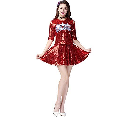 Yudesun Cheerleading Tanzkleid Uniform Damen - Mädchen Pailletten Tanz Bekleidung Tops Minirock Set High School Schule Kostüm Moderne Jazz Outfit Halloween Karneval Party