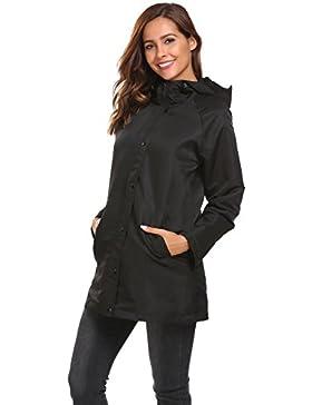 Coorun Mujer Chaqueta de lluvia de manga larga con capucha chubasquero impermeable