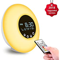 [Nouveau Version] Réveil Lumière à Télécommande, Lampe de Réveil USB Câble Veilleuse pour Enfant Adulte Radio FM/56 sons/Température/RGB/9 couleurs/10 Niveaux de Luminosité pour Enfant Adulte …
