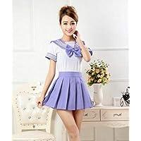 FXC - Uniformes escolares de marinero + corbata + falda, color azul marino